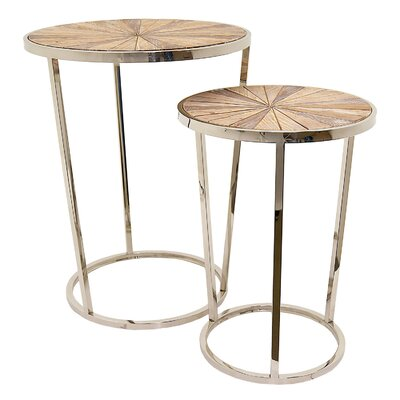 Champy 2 Piece Metal and Wood Nesting Tables