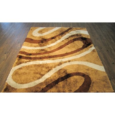 Yarbrough Hand-Tufted Brown/Yellow Area Rug Rug Size: Rectangle 76 x 103