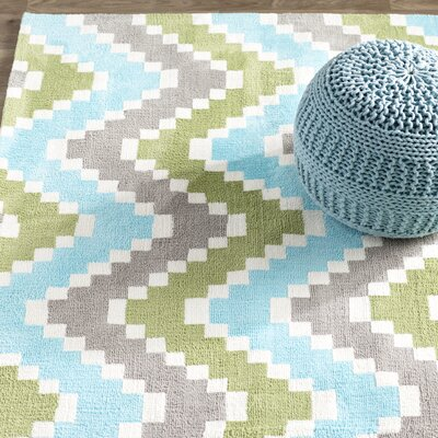 Anita Hand-Tufted�Green/Blue/Gray Area Rug Rug Size: Rectangle 76 x 96