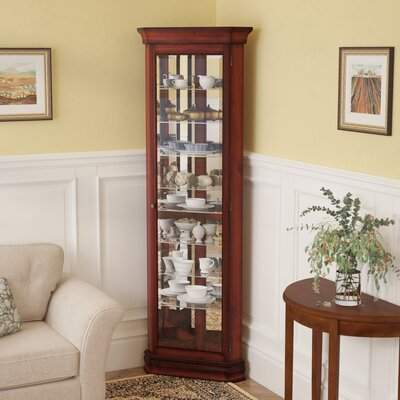 Hollingdon Lighted Corner Curio Cabinet Color: Victorian Cherry