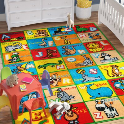 Angelique Learn ABC / Alphabet Letters with Animals Bright Colorful Vibrant Colors Kids / Baby Room Area Rug Rug Size: Rectangle 7'3