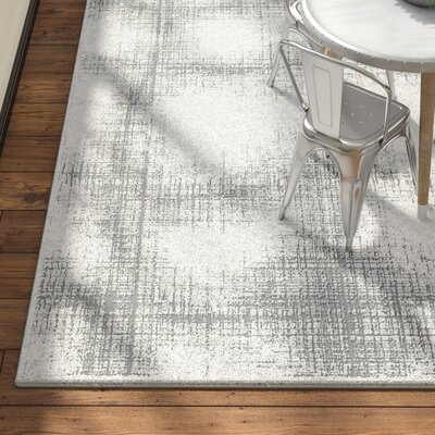 Brooks Distressed Modern Abstract Gray/Cream Area Rug Rug Size: Rectangle 93 x 123