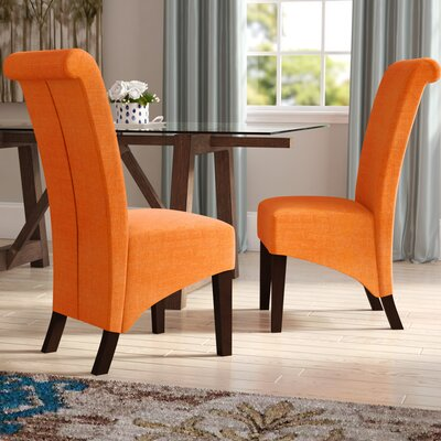 Keyesport Upholstered Parsons Chair Upholstery: Orange