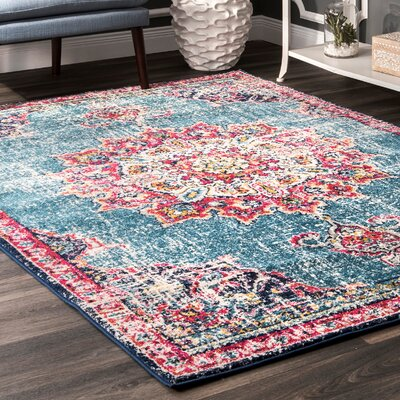 Charland Pink/Blue Area Rug Rug Size: Rectangle 5 x 75