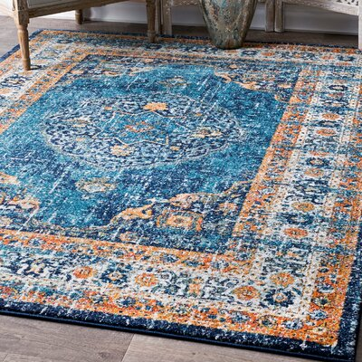 Durr Blue Area Rug Rug Size: Rectangle 5 x 75