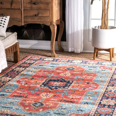 Caufield Blue/Pink Area Rug Rug Size: Rectangle 5 x 75