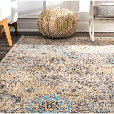 Cavallo Beige/Yellow Area Rug Rug Size: Rectangle 8 x 10
