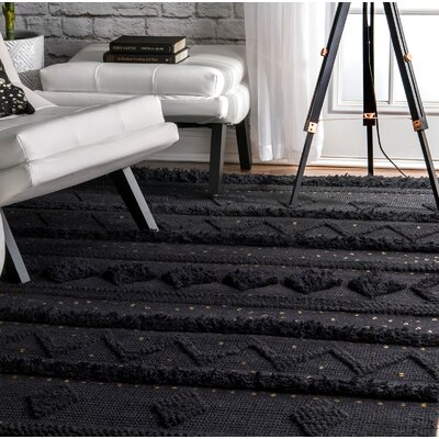 Caverly Hand-Woven Wool Black Area Rug Rug Size: Rectangle 76 x 96