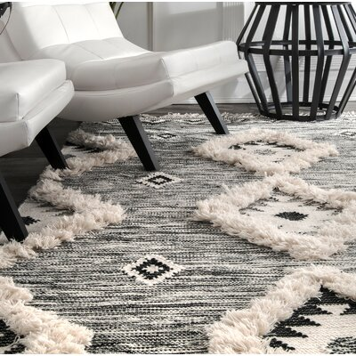 Cawley Hand-Woven Wool Gray Area Rug Rug Size: Rectangle 5 x 8