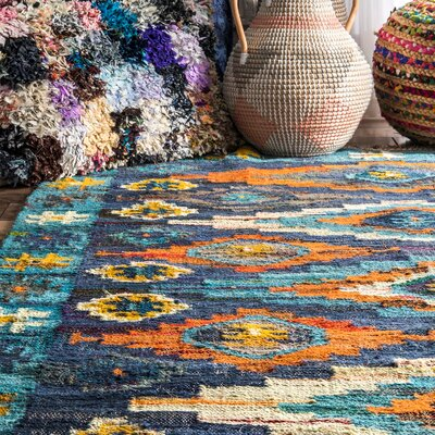 Cayer Hand-Woven Cotton Blue/Yellow Area Rug Rug Size: Rectangle 7 x 9
