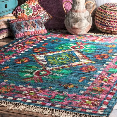 Caywood Hand-Woven Cotton Blue/Pink/Green Area Rug Rug Size: Rectangle 7 x 9