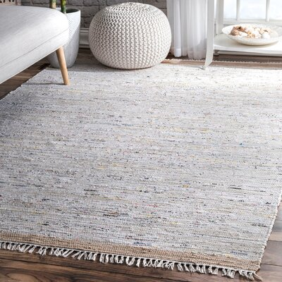 Linzy Flat Woven Cotton Gray Area Rug Rug Size: Rectangle 8 x 10