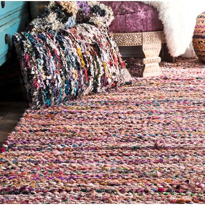 Cearley Hand-Woven Pink Area Rug Rug Size: Rectangle 76 x 96