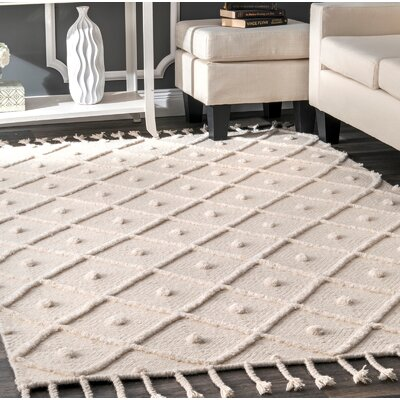 Ceniceros Wool Ivory Area Rug Rug Size: Rectangle 76 x 96