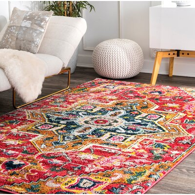 Cedillo Red/Yellow/Green Area Rug Rug Size: Rectangle 9 x 12
