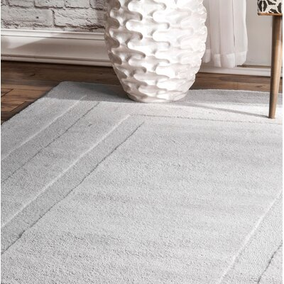 Hames Hand-Tufted Wool Light Gray Area Rug Rug Size: Rectangle 5 x 8