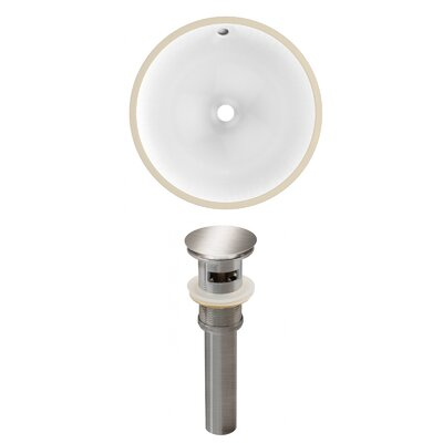 Ceramic Circular Undermount Bathroom Sink with Overflow Drain Finish: Brushed Nickel