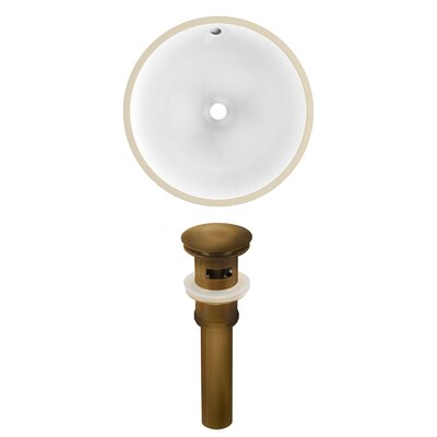 Ceramic Circular Undermount Bathroom Sink with Overflow Drain Finish: Antique Brass