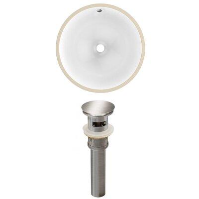 Ceramic Circular Undermount Bathroom Sink with Overflow Drain Finish: Brushed Nickel