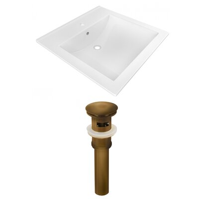 1 Hole Ceramic Rectangular Drop-In Bathroom Sink with Faucet and Overflow Drain Finish: Brown