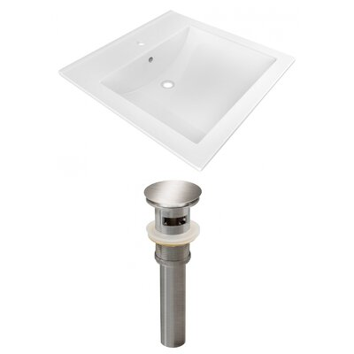 1 Hole Ceramic Rectangular Drop-In Bathroom Sink with Faucet and Overflow Drain Finish: Silver