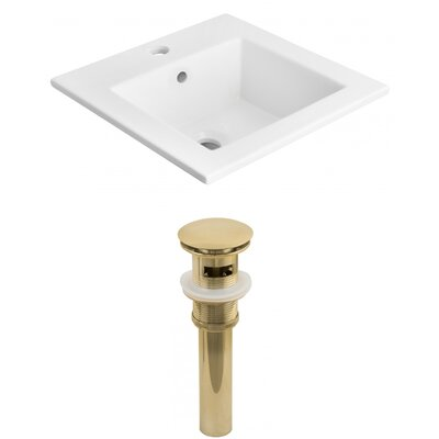 1 Hole Ceramic Rectangular Drop-In Bathroom Sink with Faucet and Overflow Drain Finish: Gold