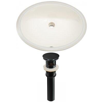 Ceramic Oval Undermount Bathroom Sink with Overflow Drain Finish: Black