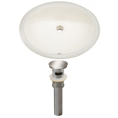 Ceramic Oval Undermount Bathroom Sink with Overflow Drain Finish: Brushed Nickel