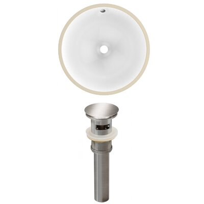 Ceramic Round Undermount Bathroom Sink with Overflow Drain Finish: Brushed Nickel