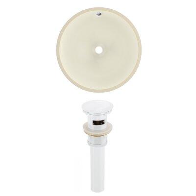 Ceramic Round Undermount Bathroom Sink with Overflow Drain Finish: White
