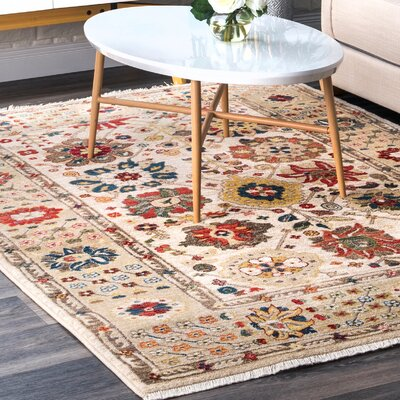 Dupuy Light Beige Area Rug Rug Size: Rectangle 5 x 75