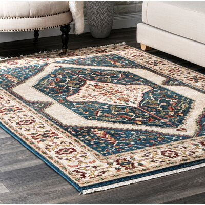Duque Blue/Beige Area Rug Rug Size: Rectangle 8 x 10