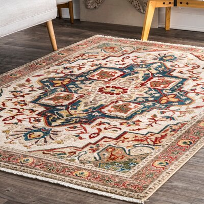 Durazo Blue/Beige Area Rug Rug Size: Rectangle 5 x 75