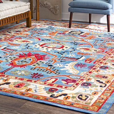 Chairez Blue Area Rug Rug Size: Rectangle 53 x 77
