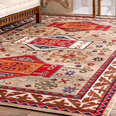 Duren Beige/Red Area Rug Rug Size: Rectangle 53 x 77