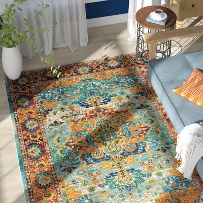Devan Brown/Blue Indoor Area Rug Rug Size: Rectangle 53 x 73