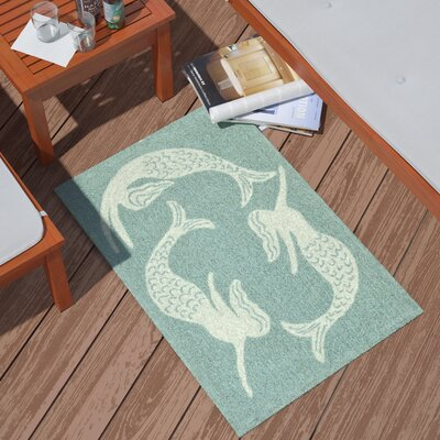 Northfield Mermaids Handmade Blue Indoor/Outdoor Area Rug Rug Size: 2 x 3