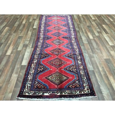 One-of-a-Kind Breonna Hamadan Hand-Woven Wool Red Area Rug