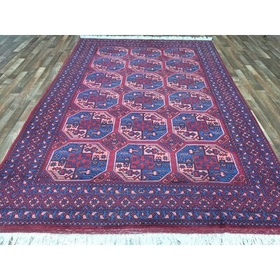 One-of-a-Kind Lidia Bukhara Hand-Woven Wool Red  Area Rug