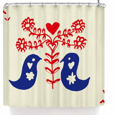 Bruxamagica Scandi Folk Birds Shower Curtain