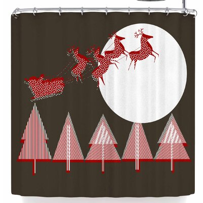 Bruxamagica Santa Flying Brown Shower Curtain