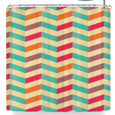 Bluelela Chevron Vibrant 002 Shower Curtain Color: Cream/Green