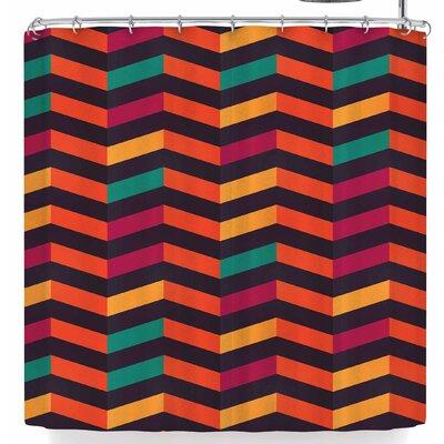 Bluelela Chevron Vibrant 002 Shower Curtain Color: Orange/Green