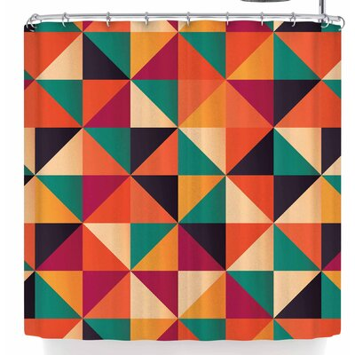Bluelela Triangle 002 Shower Curtain Color: Orange/Green