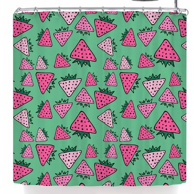Bruxamagica Strawberry Shower Curtain Color: Green/Pink