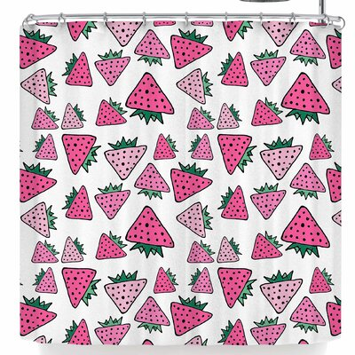 Bruxamagica Strawberry Shower Curtain Color: White/Pink