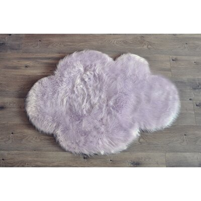 Demetra Faux Sheepskin Lavender/White Area Rug Rug Size: Novelty 27 x 37