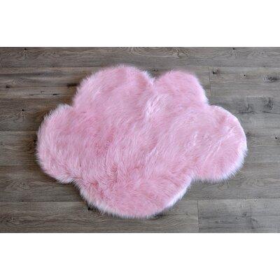 Demetrius Faux Sheepskin Pink/White Area Rug Rug Size: Novelty 27 x 37
