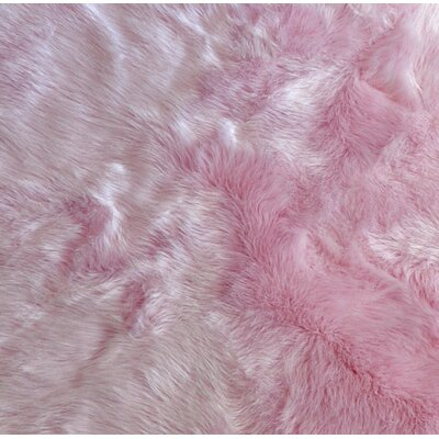 Demetrius Faux Sheepskin Pink/White Area Rug Rug Size: Rectangle 4x 6
