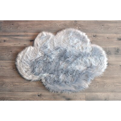 Deshazo Faux Sheepskin Gray/White Area Rug Rug Size: Novelty 27 x 37